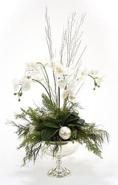silver and white arrangement in a silver compote christmas decor traditional holiday decorations