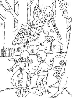 Hansel and gretel Coloring Pages Coloring Book Pages, Printable Coloring Pages, Coloring Pages For Kids, Coloring Sheets, Hansel Y Gretel Cuento, Free Coloring, Adult Coloring, Fairy Tale Projects, Digi Stamps