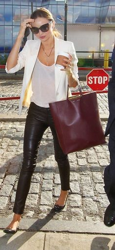 leather jeans and bright blazer