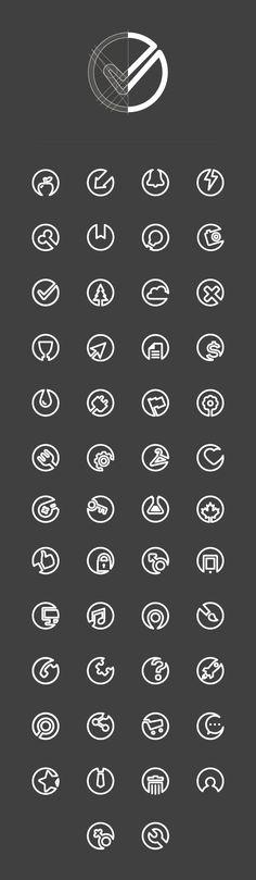 Flat line icons on Behance