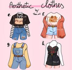Teen Fashion Outfits, Anime Outfits, Mode Outfits, Retro Outfits, Grunge Outfits, Fashion Art, Fashion Collage, Style Fashion, Cartoon Art Styles