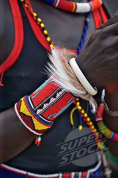 Stock Photo: The ornaments of a Pokot warrior including a ring of goat skin which would have been slaughtered for a ceremony. The Pokot are pastoralists speaking a Southern Nilotic language. African Necklace, African Jewelry, Tribal Jewelry, Beaded Jewelry, Jewellery, African Inspired Fashion, African Fashion, African Style, East African Rift