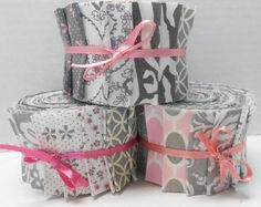 Pink and Gray Quilt Fabric Jelly Roll Strips  SEW by SEWFUNQUILTS, $19.75