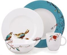 """Lenox """"chirp"""" set.  When I ever buy nice dishes, I want these.  WHY ARE THEY SO EXPENSIVE?!"""