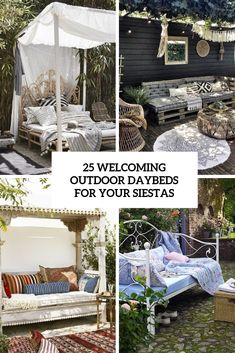 25 welcoming outdoor daybeds for your siestas cover - DigsDigs Wooden Daybed, Rattan Daybed, Pallet Daybed, Metal Daybed, Outdoor Daybed, Daybeds, Outdoor Decor, Pink Cushions, Backyard