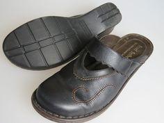 JOSEF SEIBEL Black Brown Leather Mules Slides Slip On Shoes Women's US 11 EU 42 #JosefSeibel #Clogs #Casual