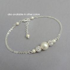 Personalizado de pulsera de perla de Dama de honor de marfil