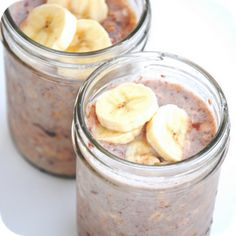 Nutella Banana Make-ahead, No-cook refrigerator Oatmeal:  1/4 cup uncooked old fashioned oats  1/4 cup skim milk  1/4 cup low fat yogurt  Half a banana – cut up  1 large spoonful of nutella  Add all ingredients to your jars. Put the lid on the jar and shake it up. Place in the refrigerator over night and enjoy!