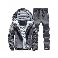 3453654883d4a Tracksuit Men Plus Velvet Camouflage Army Casual Hooded Warm Hoodie Men Winter  Thick Inner Fleece Pant Men Moleton Masculino