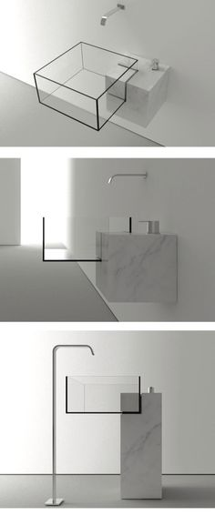 Milan-based architect VictorVasilev designed KUB a nearly invisible bathroom sMilan-based architect VictorVasilev designed KUB a nearly invisible bathroom sink The minimal design is available in two sizes and features a combination of marble and glass Bad Inspiration, Bathroom Inspiration, Interior Architecture, Interior And Exterior, Bathroom Interior, Bathroom Sinks, Bathroom Ideas, Bathroom Cabinets, Bathroom Sink Design