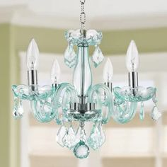 House of Hampton Yvette Candle Style Classic / Traditional Chandelier Finish: Coral Blue Green Chandeliers, Elegant Chandeliers, 5 Light Chandelier, Rectangular Chandelier, Classic Candles, Compact Fluorescent Bulbs, Classic Style, Ceiling Lights, Coral Blue