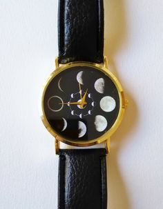 Moon Phases Wrist Watch - moon watch, moon jewelry, black watch, womens watches, unique watches, moon phase jewelry, faux leather watch by FeathersandStars on Etsy