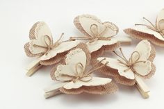 Set of 5 Butterflies Clothes Pins, Decorative Burlap Butterfly Wings, White Cottage Chic Decor, Rustic Wedding Decor, Burlap Ornaments