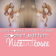 Curtain tie back crochet monkey PATTERN  tieback left or