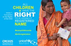Every child has a right to a name. #Everychildcounts http://www.unicef.org/malaysia/crc25_everychildcounts.html