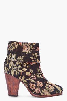 Rag And Bone Black Floral Canvas Newbury Boots