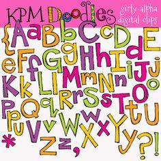 INSTANT DOWNLOAD Girly alpha digital clipart clip von kpmdoodles