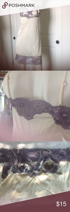 DOMESTIC VIOLENCE SALE LOW PRICES GREATFINDS SHARE Beautiful lavender Lace & cream nightgown/slip  HAPPY SHOPPING brand is Vassarette Not VS ❌PRICE IS FIRM Intimates & Sleepwear Chemises & Slips