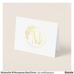 Minimalist M Monogram Hand Drawn Rose Thank You Foil Card M Monogram, Monogram Gifts, Paper Envelopes, White Envelopes, Colored Paper, Paper Texture, Drawn Rose, How To Draw Hands, Foil Card