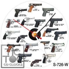 eBlueJay: S-726-W CD CLOCK - MANY GUNS WITH WHITE HANDS