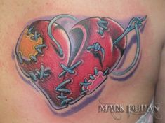 """Heart tattoo """"Punched and stitched heart"""" Waist Tattoos, M Tattoos, Cool Tattoos, Flag Tattoos, Gangsta Tattoos, Awesome Tattoos, Creative Tattoos, Unique Tattoos, Beautiful Tattoos"""