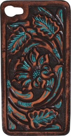 Brown Vintage Floral Tooled Hard Phone Case by Double J Saddlery