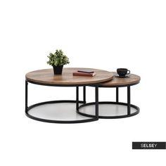 Zestaw stolików kawowych Kodia średnica 60 cm i 80 cm orzech - czarny - Selsey Wardrobe Furniture, Center Table, Salons, 3d Printing, Interior Design, Ideas, Modern Houses, Coffee Tables, Reception