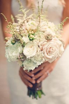 Creamy white and neutral colored bouquet (with long stems)