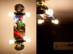 College student and Reddit user misterpiggies shared a DIY project which he describes as born out of boredom and an obvious affinity for skateboarding, resulting in a 4 bulb ceiling lamp with some obvious street (and crafting) cred...