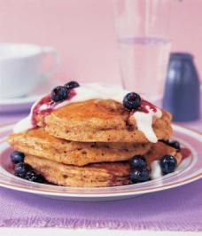 buttermilk wheat germ pancakes with yogurt and berry sauce. This is actually really tasty.