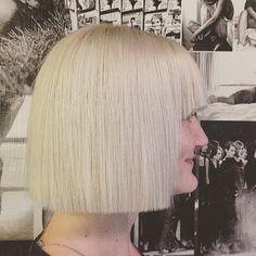 Blunt platinum blonde bob