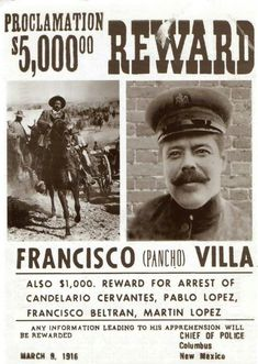 9 de marzo de 1916 tiene lugar la Batalla de Columbus, Nuevo Mexico, entre las tropas dePancho Villay un destacamento de caballería delejército estadounidense que terminó con victoria villista siendo la primera y única invasión de los Estados Unidos.