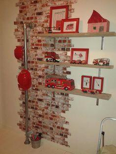 Fireman Room, Firefighter Bedroom, Firefighter Home Decor, Fire Truck Bedroom, Fire Truck Nursery, Big Boy Bedrooms, Baby Boy Rooms, Home Decor Bedroom, Kids Bedroom