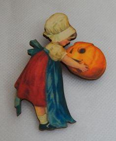 Vintage Style Girl w/ Pumpkin Halloween Brooch or Scarf Pin Wood Multi-Color NEW #Handmade