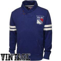 a17f81250 Mitchell  amp  Ness New York Rangers Shawl Collar Fleece Pullover Sweater -  Royal Blue Nhl