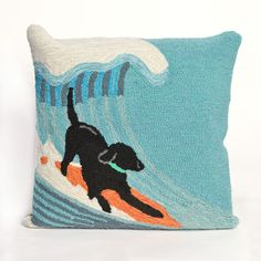 Surfing puppies- fun throw pillows with bright colors and whimsical feel!