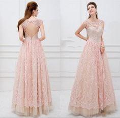 Online Shop vestido para festa de formatura 2014 Elegant Cap Sleeve Crystal Pink Lace Ball Gown Prom Dresses Open Back Long Dress To Party Aliexpress Mobile