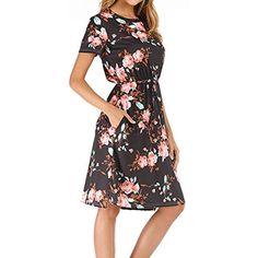 0d315cebad004f Yidarton Damen Sommer Kleid Kurzarm Blumendruck Patchwork Casual Plissee  Midikleid mit Taschen #Koffer Rucksäcke-