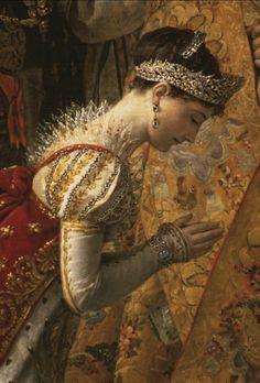 Close up of Empress Josephine in the Napoleon Coronation painting.