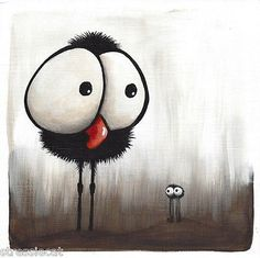 Original acrylic painting whimsical bird dark illustration crow spider shocked in Art, Direct from the Artist, Paintings | eBay