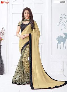 Women's Beautiful Georgette And  Net Saree With Blouse  #Sarees  #Fashion #looking #Fashionable #Popular #Offers #Deals #New #Design #Offers #Zinngafashion #Deals #Amazing #Offers