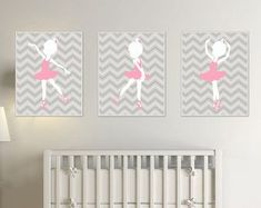 Baby Girl Nursery Art Suits Pink and Grey Nursery, Ballerina Nursery Art, Baby Girl Nursery Wall Art Print and Bedroom Decor Ballerina Nursery, Ballerina Art, Baby Girl Nursery Decor, Nursery Themes, Nursery Wall Art, Girl Decor, Pink And Gray Nursery, White Nursery, Little Girl Rooms