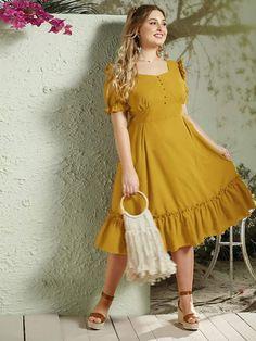 Plus Button Front Flippy Hem Bustier Dress – kidenhome Bustier Dress, Maxi Dress With Slit, Mesh Dress, Dress P, Formal Dresses For Women, Casual Dresses, Fashion Dresses, Occasion Maxi Dresses, Pageant Dresses