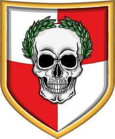Illustration of fantastic warhammer fantasy empire shield with human skull with green laurel crown.