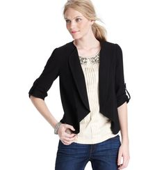 Love this Ann Taylor Loft jacket!  Great price AND use this code to get 25% off online thru 8/17!  Code - PSW25FP    Structured Crepe 1/2 Sleeve Jacket
