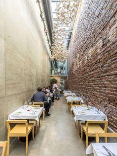 Cafe / Restaurant #glass ceiling #concrete #brick