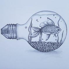 Pencil Drawings Of Nature, Fish Drawings, Nature Drawing, Art Drawings Sketches Simple, Animal Drawings, Cool Drawings, Disney Drawings, Art Nature, Nature Animals