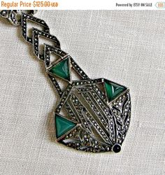 Art Deco Sterling Marcasite Green Glass by SilverFoxAntiques