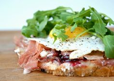 Humboldt Fog, Ricotta, cherry preserves, proscuitto, duck egg, and arugula grilled cheese