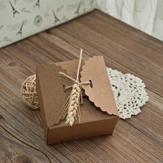 rustic eco friendly wedding favor box with dried wheat stalk EWFB089 as low as $0.69 |